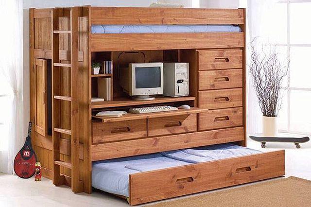 Двухъярусная кровать с кабинетом