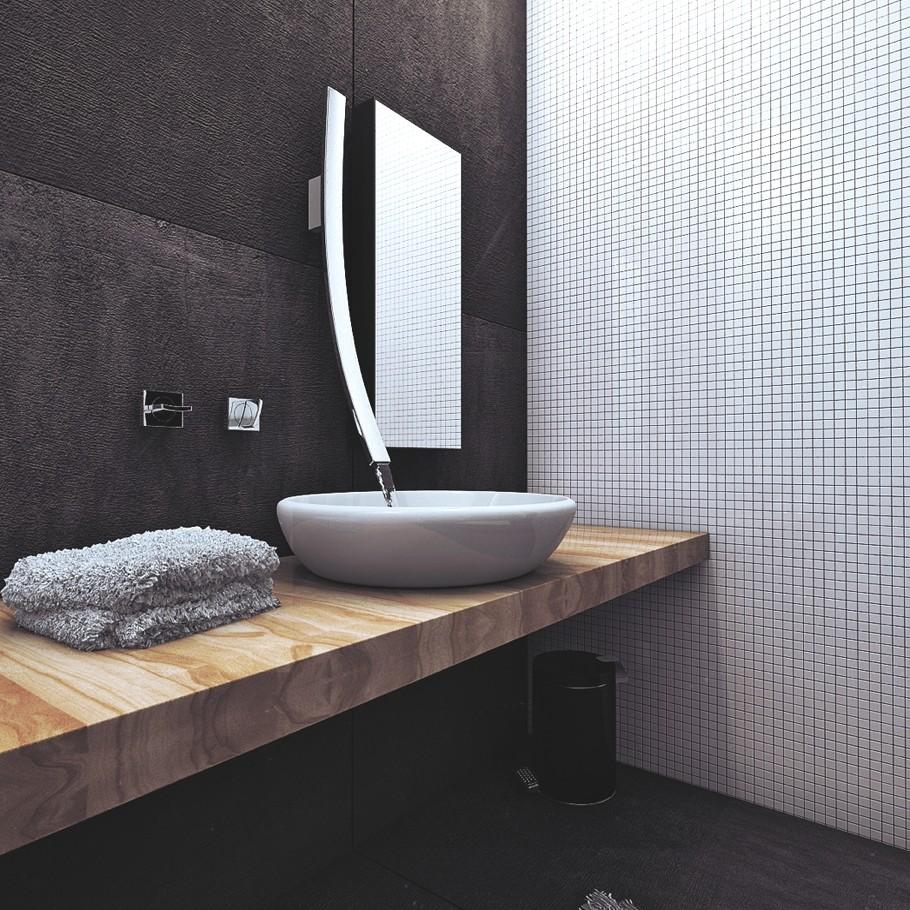 Необычной белый умывальник в чёрной ванной комнате