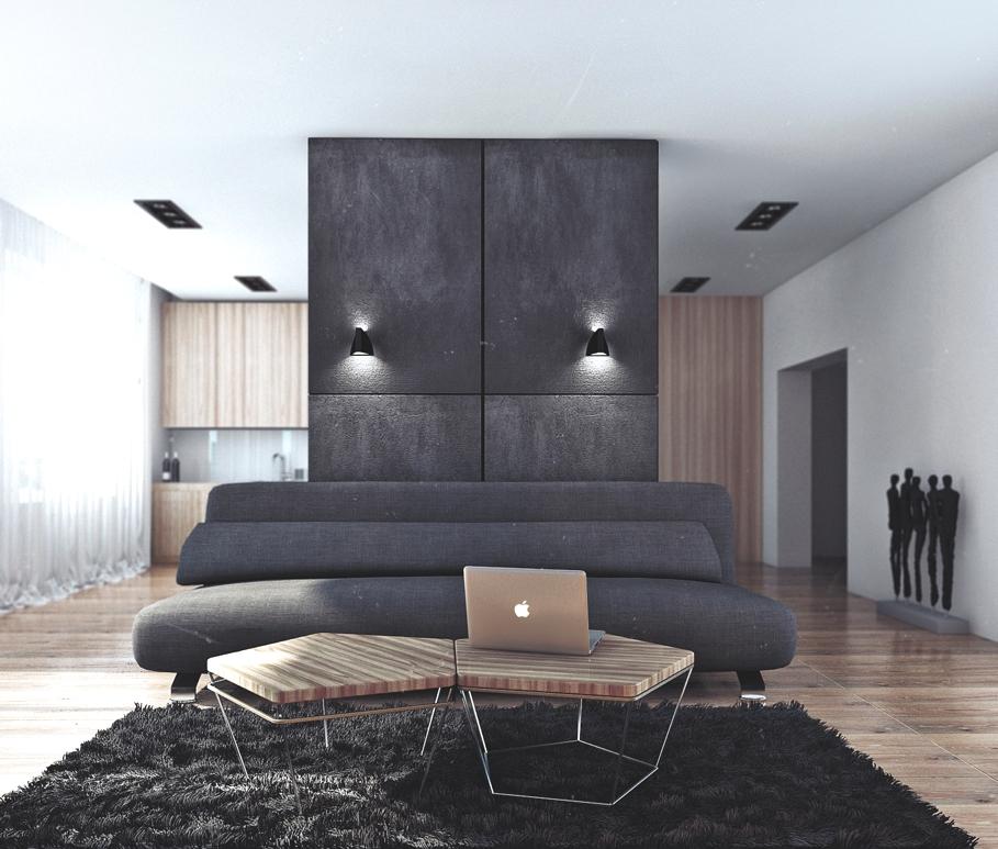 Сочетание чёрного цвета и дерева в гостиной в квартире для успешного холостяка в России