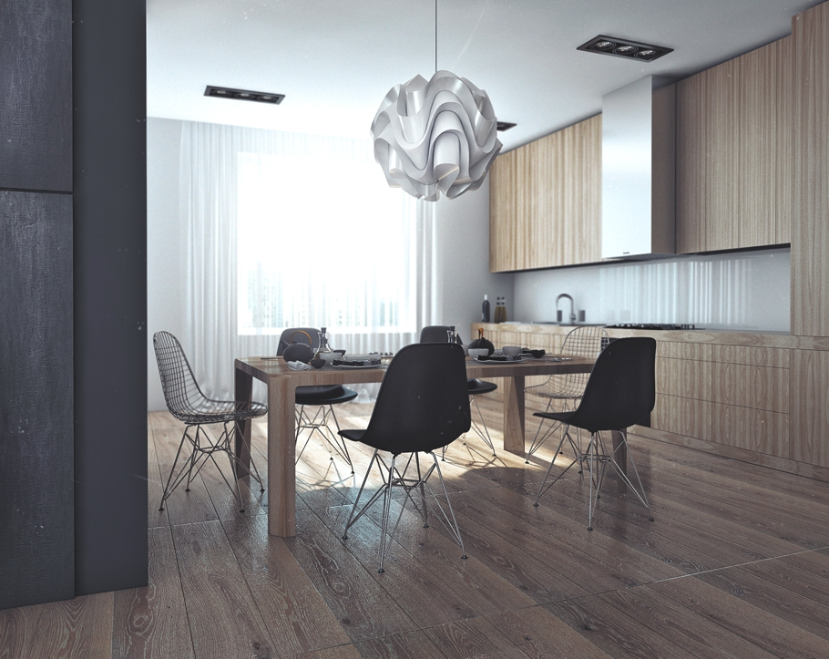 Деревянное оформление столовой в квартире для успешного холостяка в России