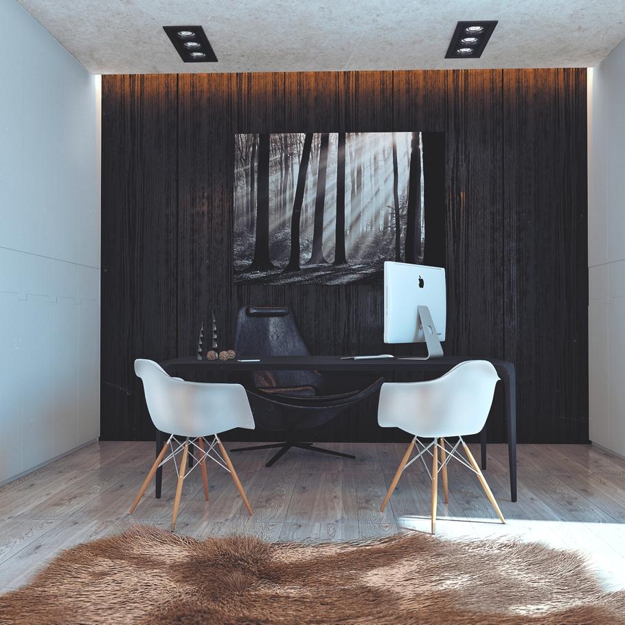 Чёрный рабочий стол, чёрное кожаное кресло и два белых стула для приёма посетителей