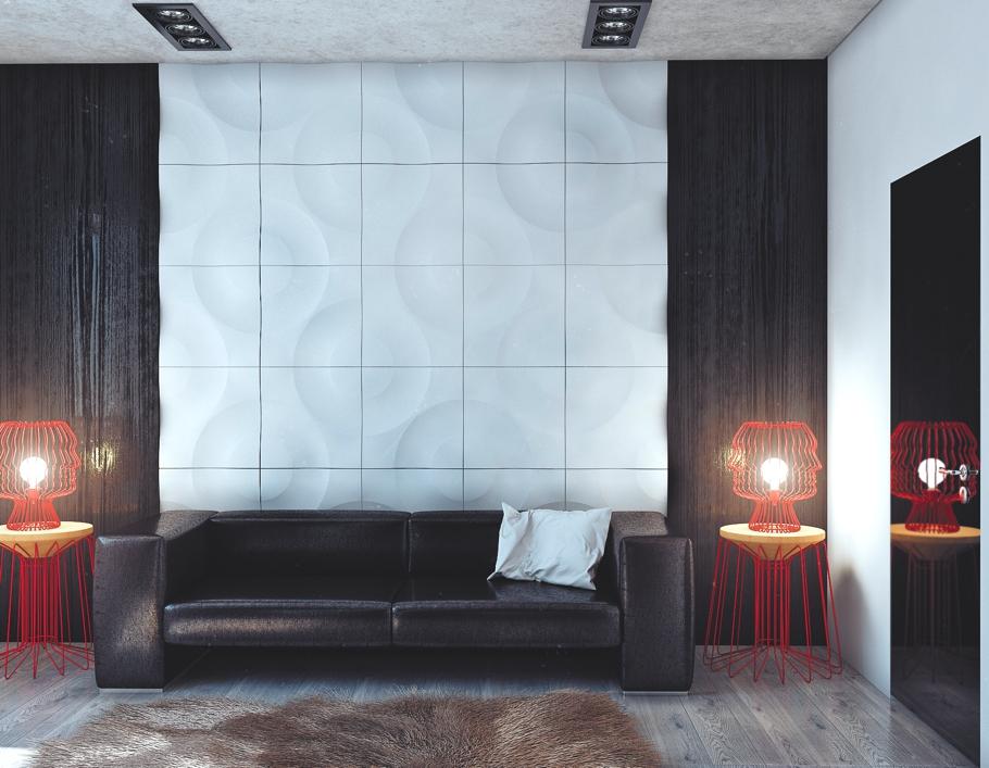 Чёрный кожаный диван и оригинальные красные светильники