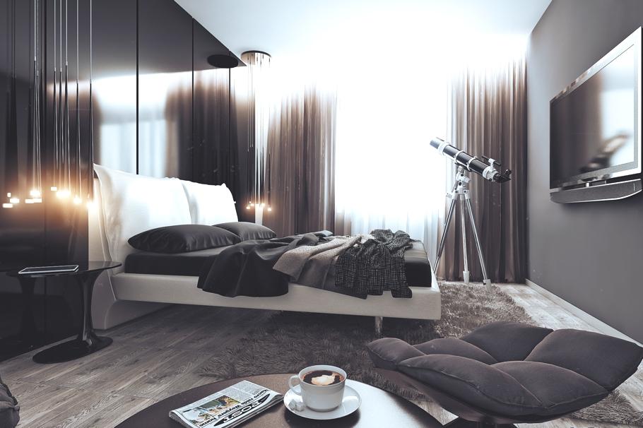 Спальня в чёрно-белых тонах в квартире для успешного холостяка в России