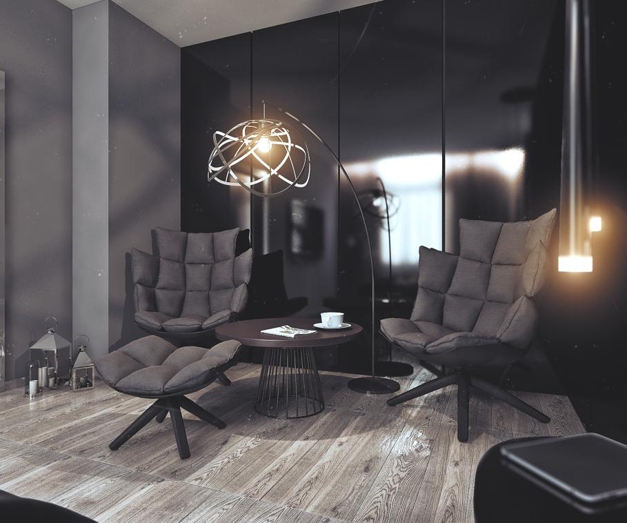 Чёрные кресла в спальне в квартире для успешного холостяка в России