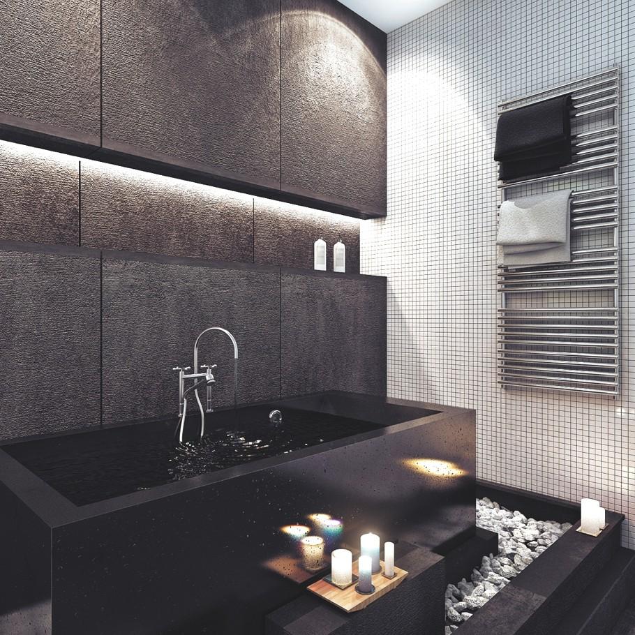 Оригинальная чёрная ванна в чёрной ванной комнате