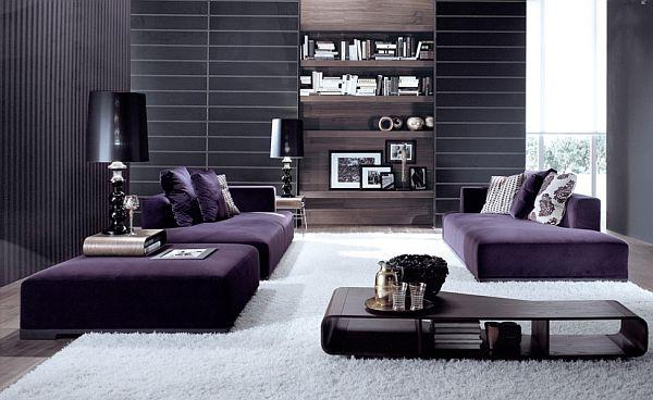 Гостиная в фиолетово-белом исполнении