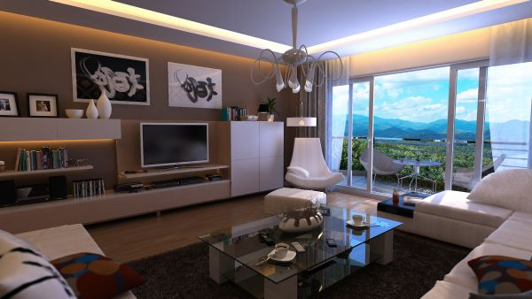 Роскошная видовая гостиная в светлых тонах