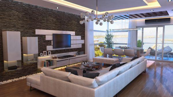 Большой прямоугольный диван в центре гостиной