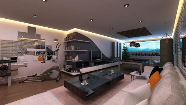 Тренажёрный зал в гостиной