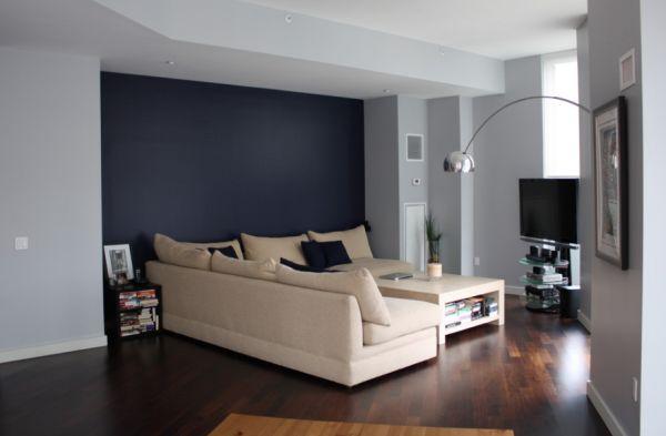 Контрастные цвета в оформлении гостиной
