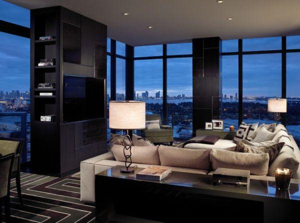 Лампы в гостиной для холостяка