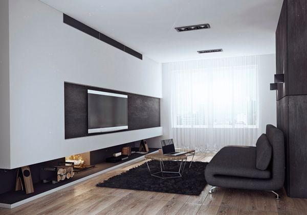 Стильная гостиная в чёрно-белых тонах