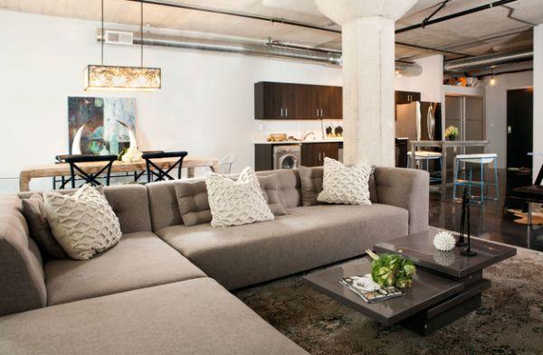 Строгий угловой диван в квартире-студии