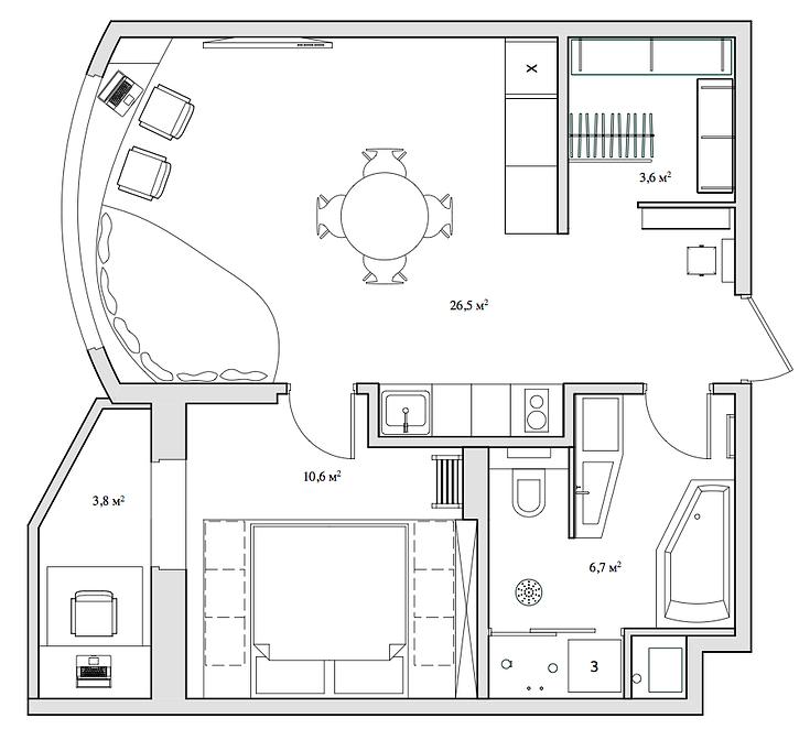 Планировка дизайнерской квартиры-студии в России