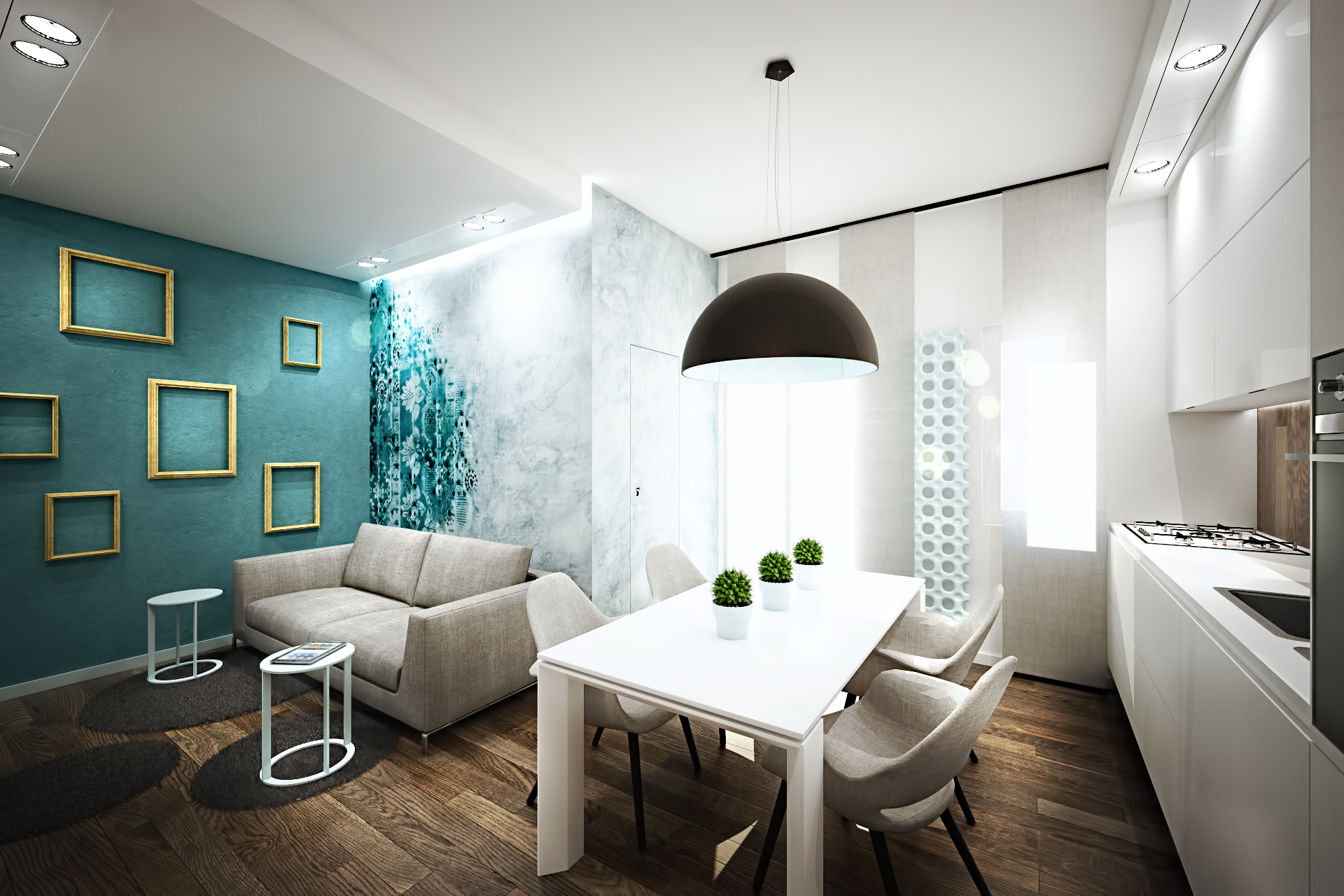 Бирюзовый цвет в интерьере квартиры-студии