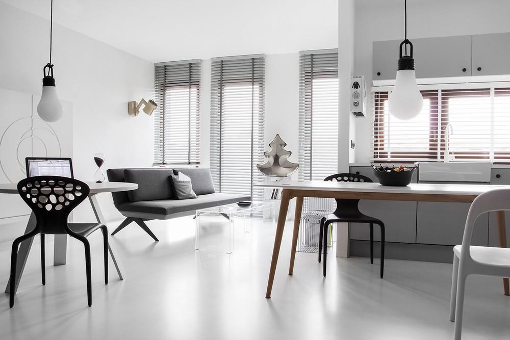 Дизайн интерьера Black&White Studio в Познани