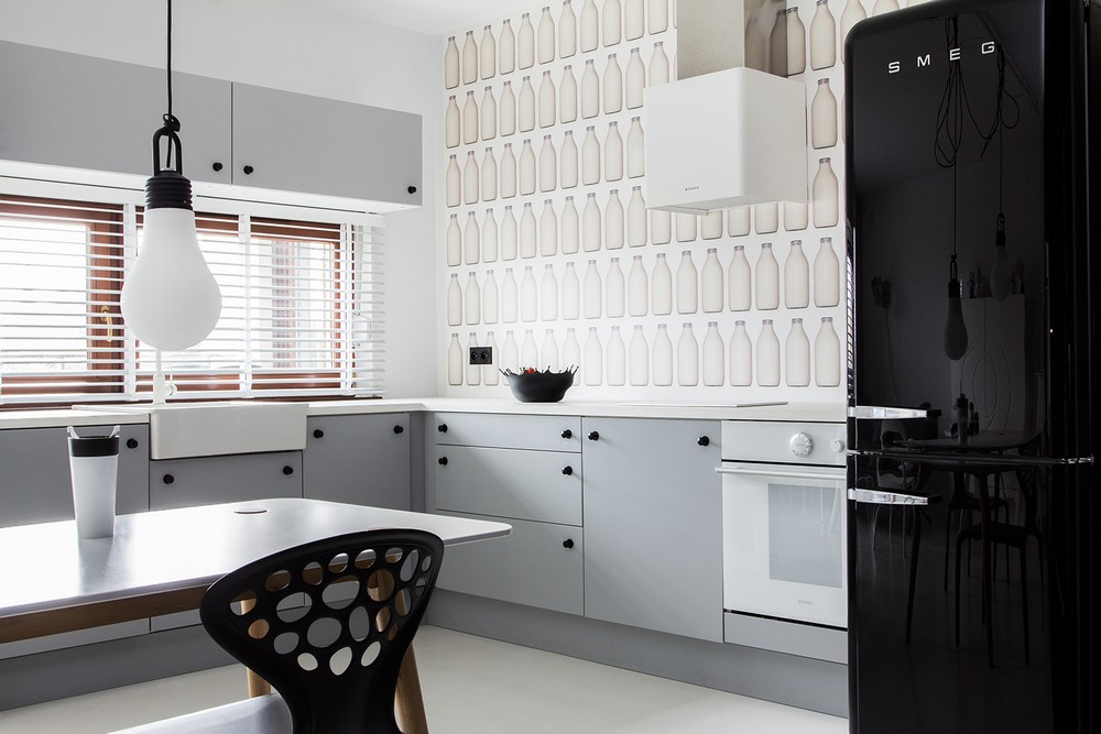 Дизайн интерьера кухни в Black&White Studio в Познани