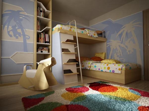Двухуровневая кровать с препятствиями