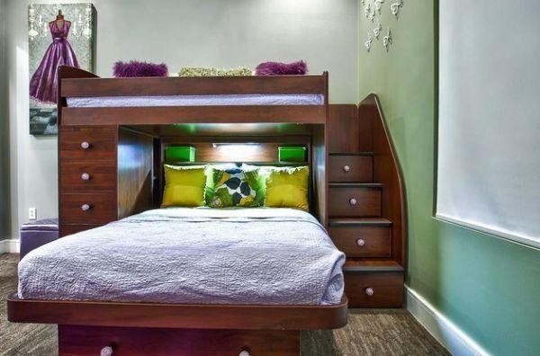 Двухуровневая кровать со встроенными шкафчиками
