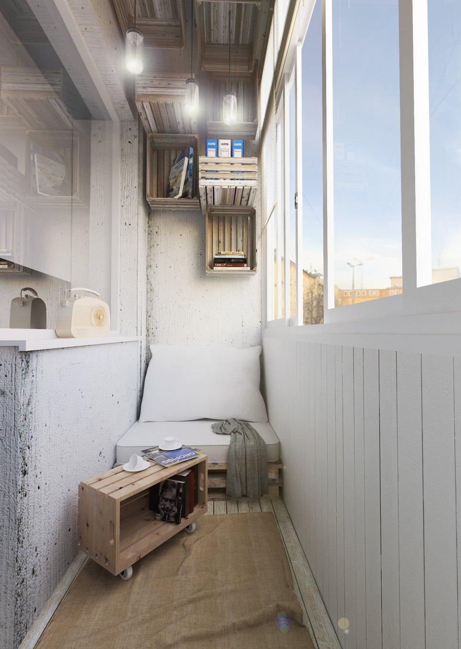 Место для отдыха на маленьком балконе в офисе