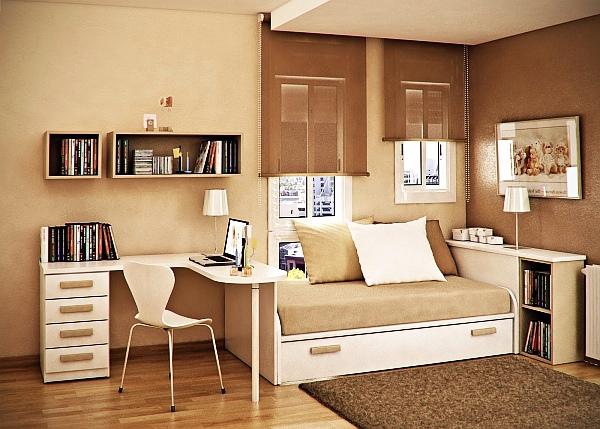 Кабинет в небольшой светлой спальне