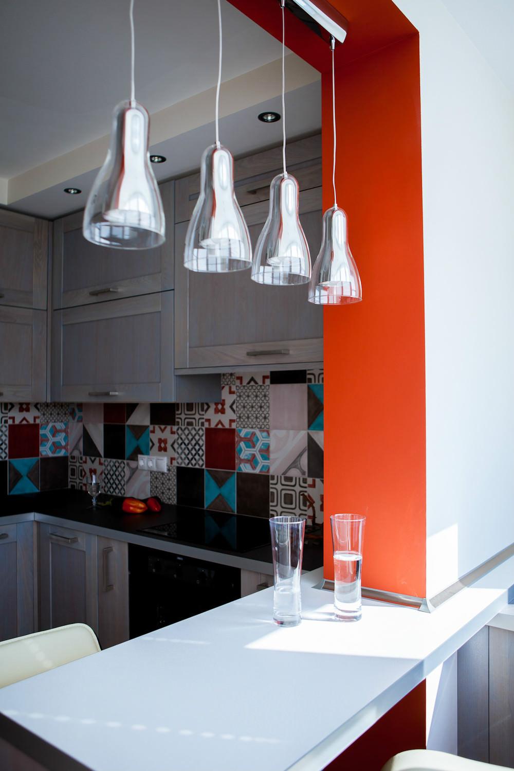 Дизайн кухни объединенный с балконом