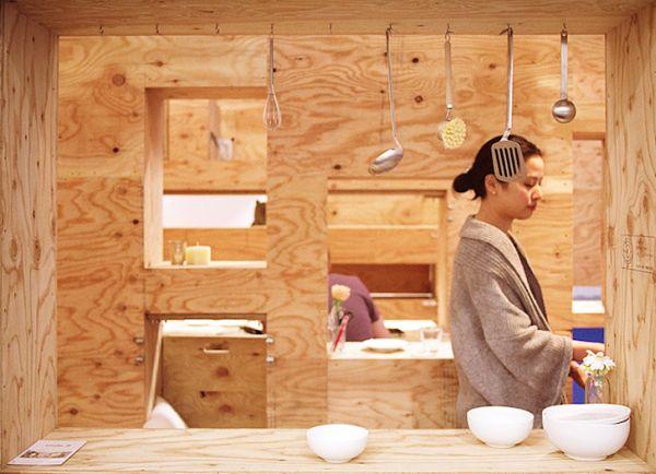Кухня квартиры с трансформируемой мебелью