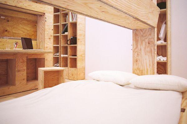 Спальня квартиры с трансформируемой мебелью