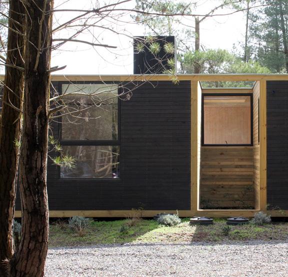 Деревянный модульный дом в лесу