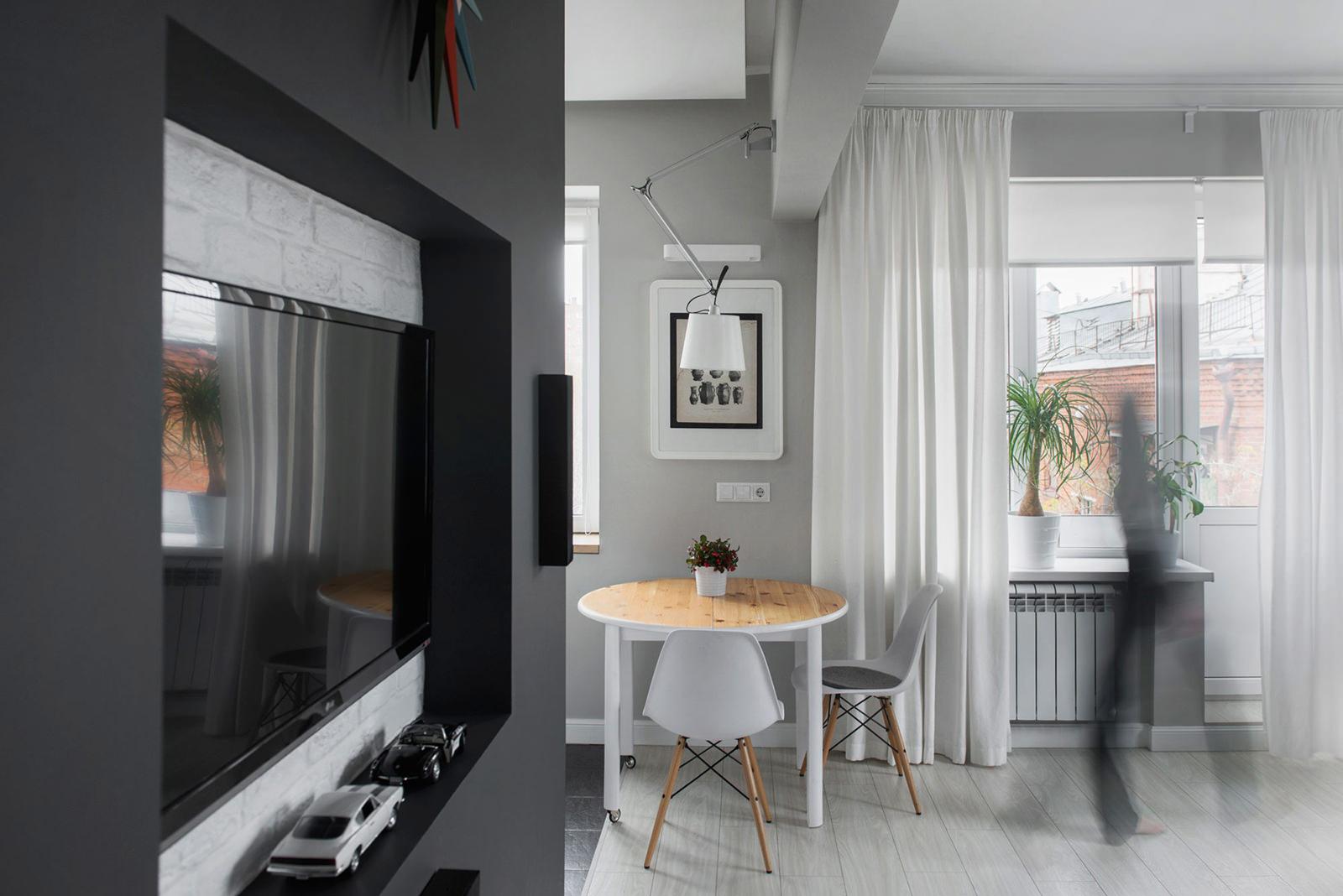 Дизайн однокомнатной хрущевки, в которой есть два окна, при площади в 30  кв