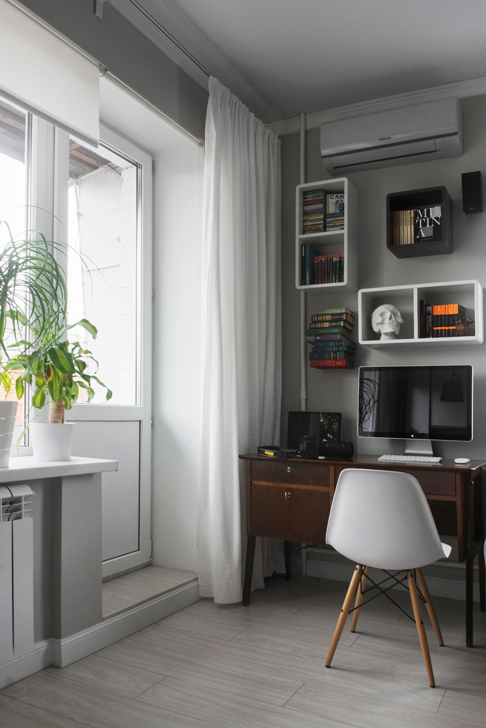 Кабинет квартиры-студии в хрущёвке