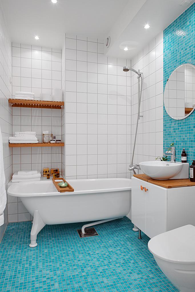 Ванная однокомнатной квартиры в Гётеборге
