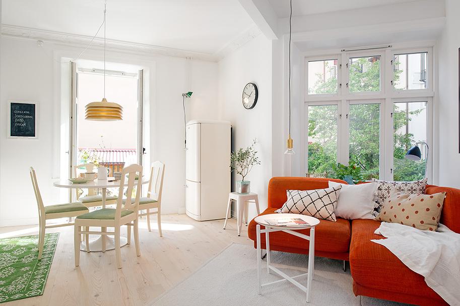 Интерьер однокомнатной квартиры в Гётеборге