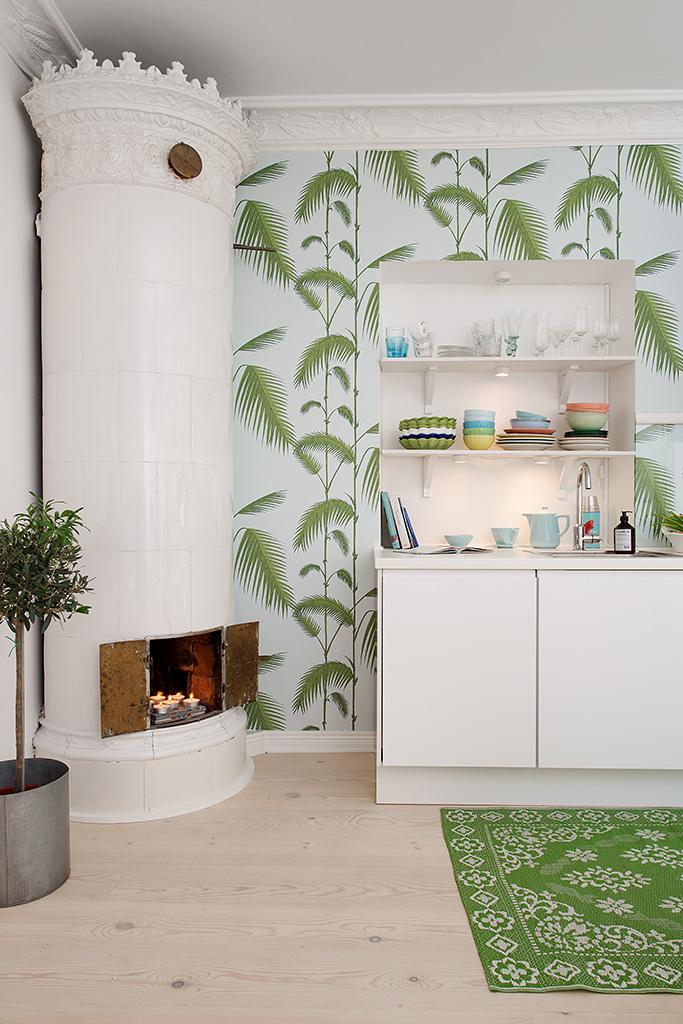 Кухня однокомнатной квартиры в Гётеборге