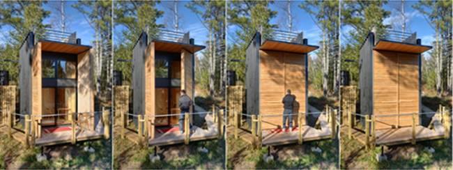 Дизайн дома из контейнеров. Деревянные двери трансформируются в крыльцо с навесом от дождя