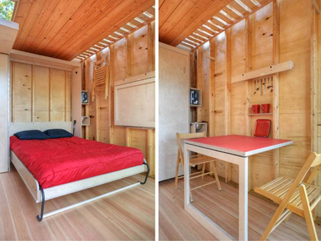 Дизайн дома из контейнеров. Складные кровать и стол