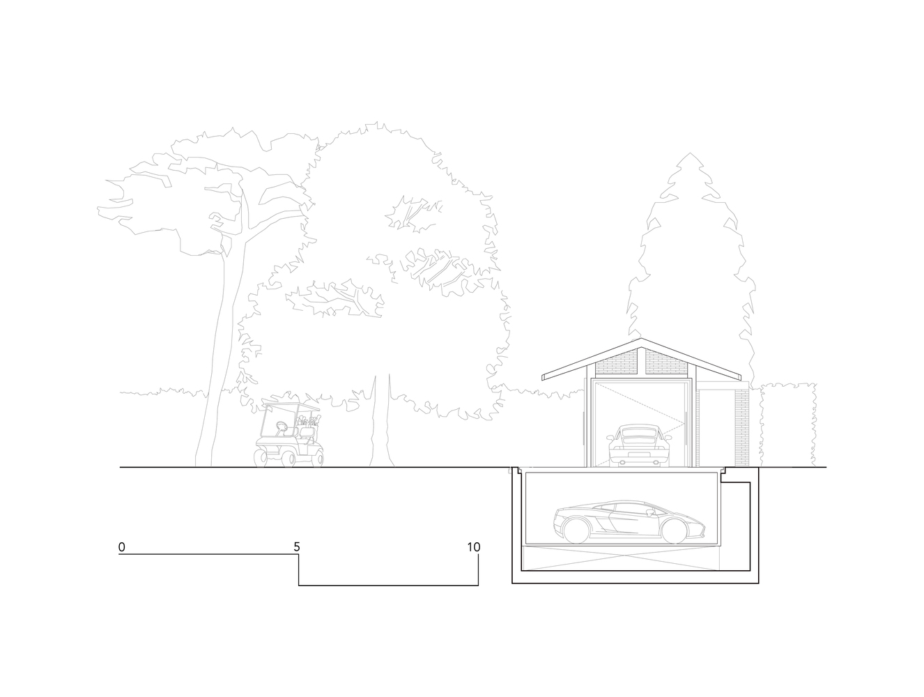 Планировка гаража с навесом