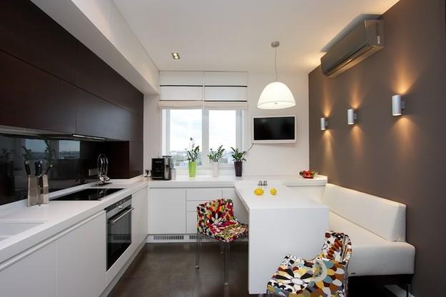 Контрастное оформление кухни