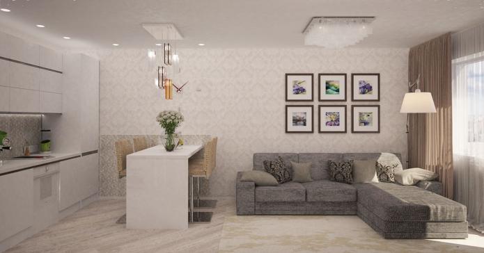 Современный дизайн квартиры площадью 44 квадратных метра