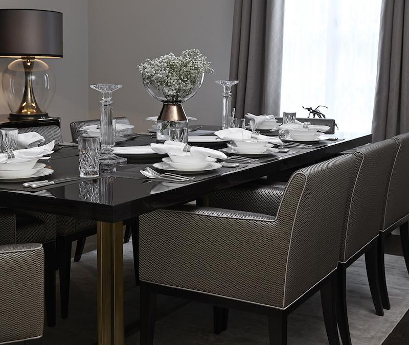 Интерьер столовой в серых тонах
