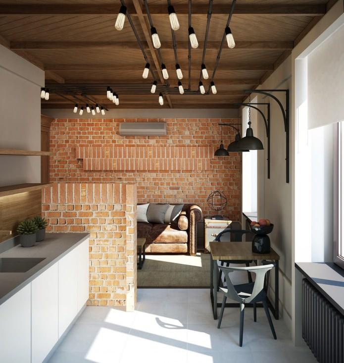 потрясающий дизайн проект небольшой квартиры в стиле лофт