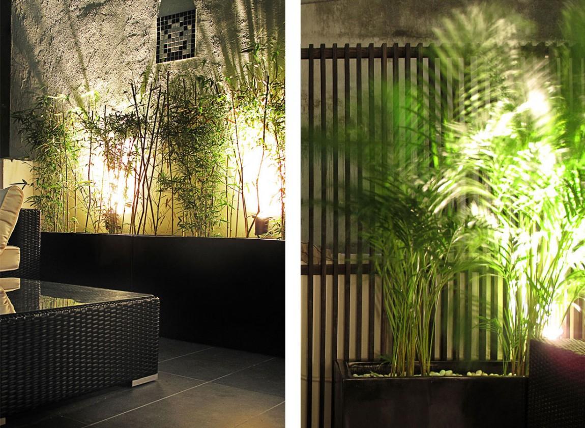 Растения в интерьере узкой квартиры в Гонконге