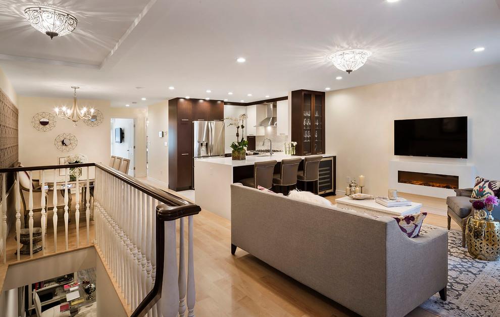 Дизайн интерьера маленькой кухни совмещённой с гостиной