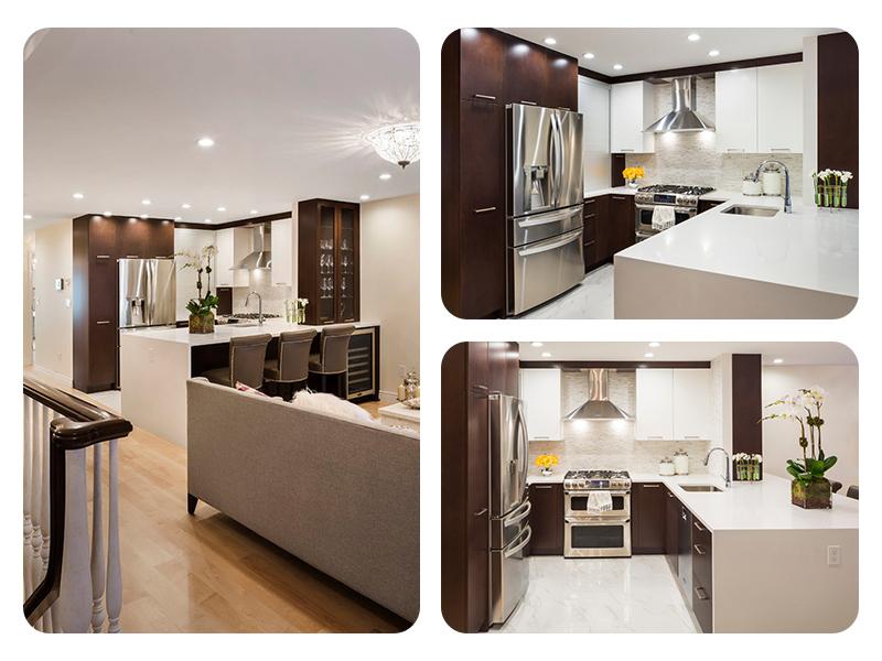 Дизайн интерьера маленькой кухни в контрастном цвете