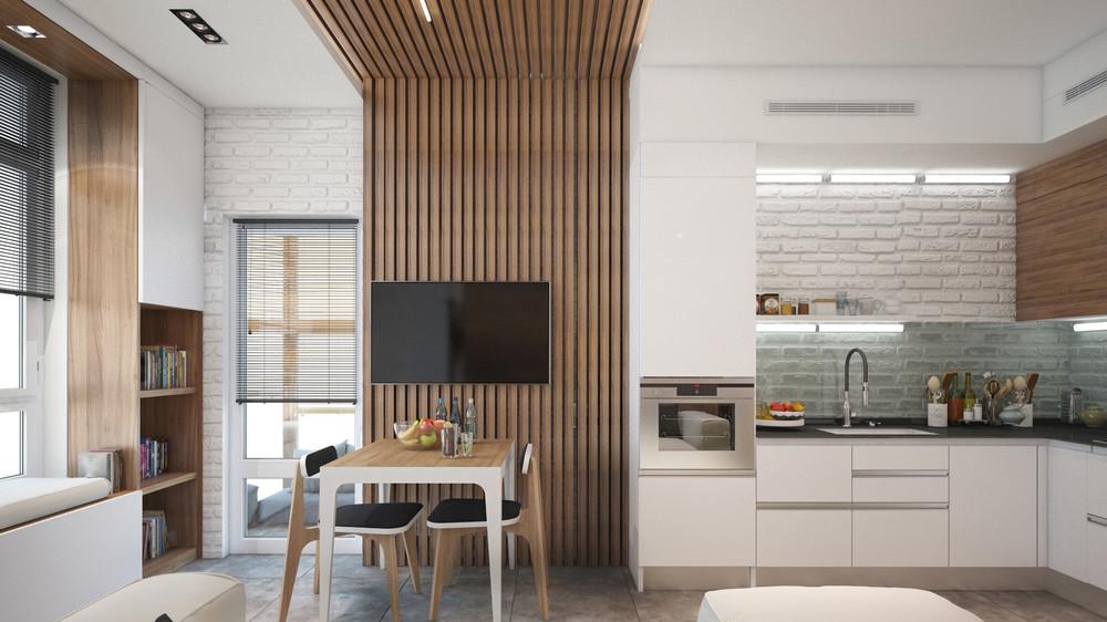 Кухня в маленькой светлой квартире-студии