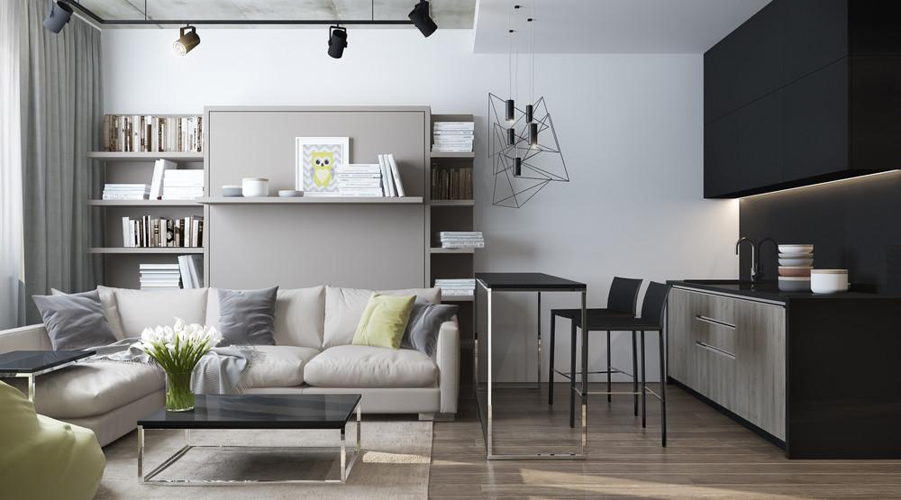 Дизайн интерьера маленькой квартиры в серых тонах - фото 3
