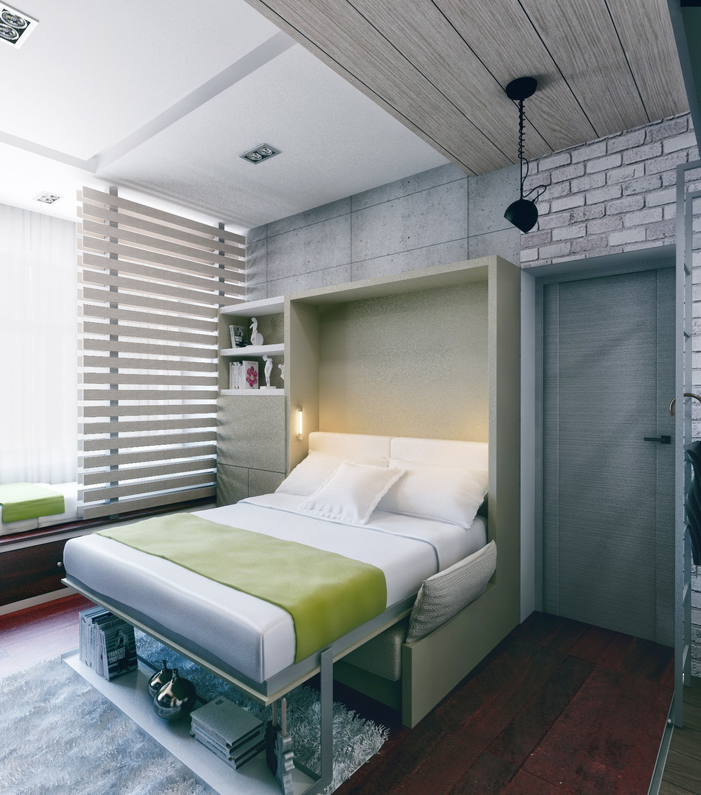 Раскладная кровать в маленькой квартире