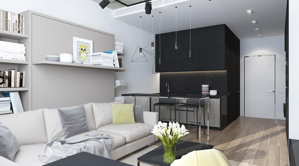 Дизайн интерьера маленькой квартиры в серых тонах - фото 5