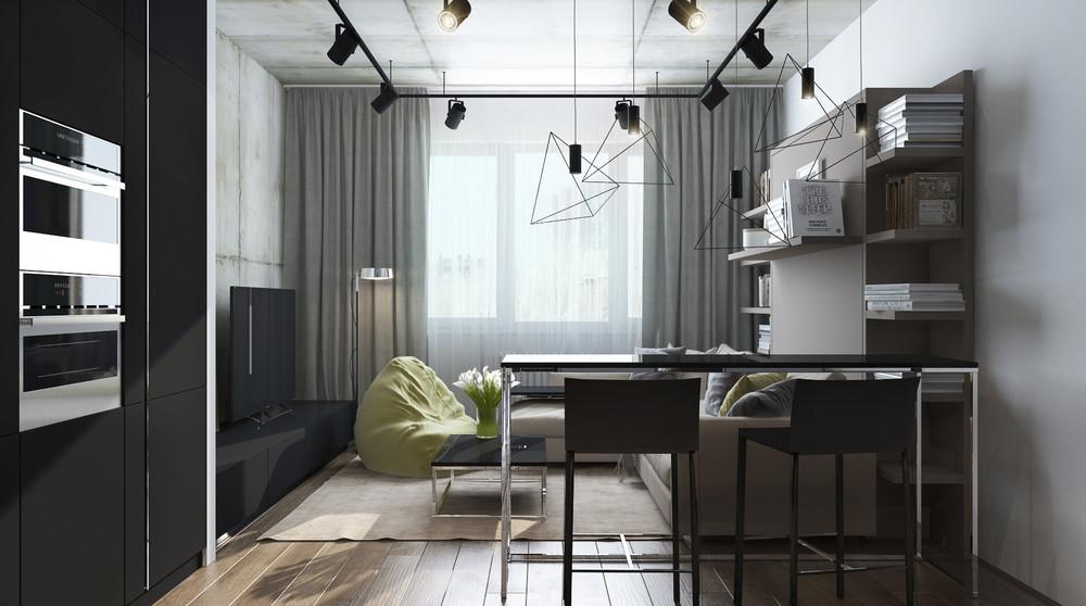 Дизайн интерьера маленькой квартиры в серых тонах