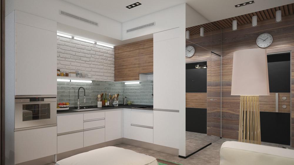 Маленькая кухня в квартире-студии